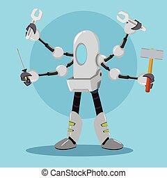 mechanic robot holding tools