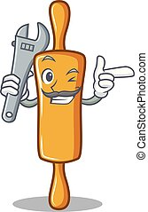 Mechanic rolling pin character cartoon
