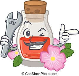 Mechanic rosehip seed oil on a mascot
