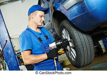 mechanic screwing car wheel by wrench