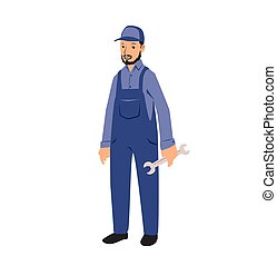 Mechanic service handyman worker man holding a spanner. Flat...