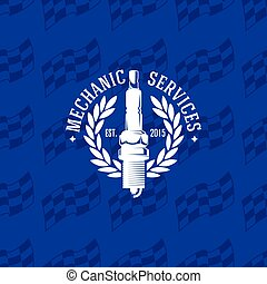 Mechanic service logo on seamless pattern checkered flag, vector illustration