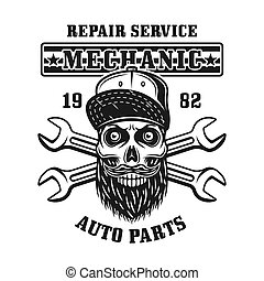 Mechanic skull and two crossed wrenches vector emblem, label, badge or logo in monochrome vintage style isolated on white background
