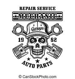 Mechanic skull and pistons vector vintage emblem