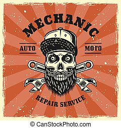 Mechanic skull and two adjustable wrenches emblem