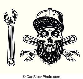 Mechanic skull in baseball cap and wrench vector
