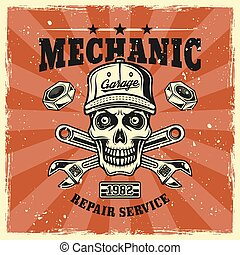 Mechanic skull in cap and wrenches vector emblem