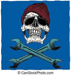 Mechanic Skull Poster - Mechanic skull Poster with hat and...