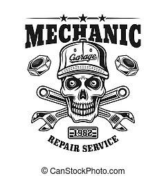 Mechanic skull vector emblem for repair service