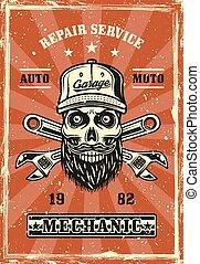 Mechanic skull with beard retro poster vector
