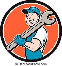 Mechanic Smiling Spanner Standing Circle Cartoon