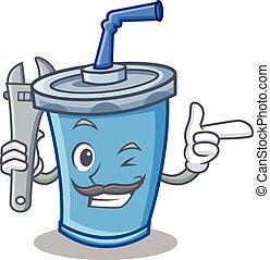 Mechanic soda drink character cartoon