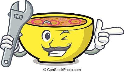 Mechanic soup union mascot cartoon