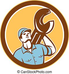 Mechanic Spanner Wrench Looking Up Retro - Illustration of a...