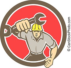 Mechanic Spanner Wrench Running Circle Retro