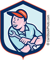 Illustration of a mechanic holding spanner wrench looking to the side set inside crest shield on isolated white background done in cartoon style.