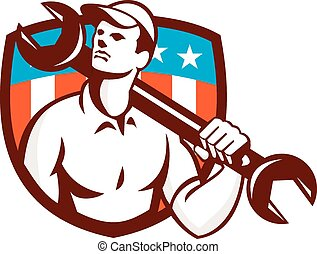 Mechanic Spanner Wrench USA Flag Retro - Illustration of a...
