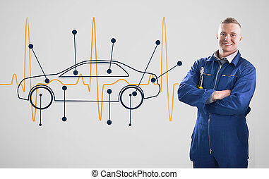 Mechanic standing in front of a background with car and...