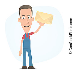 Mechanic standing with a letter - Illustration of a cartoon...