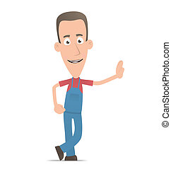 Mechanic stands next to a blank place - Illustration of a...