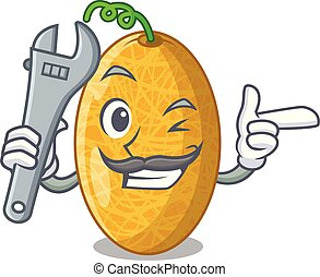 Mechanic tasty honeydew melon isolated on mascot