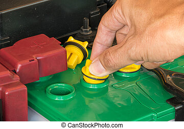 mechanic the battery of a car