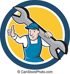 Mechanic Thumbs Up Spanner Circle Cartoon