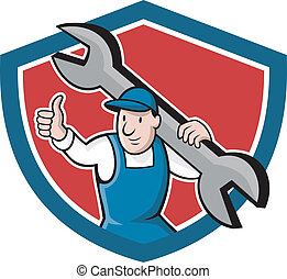 Mechanic Thumbs Up Spanner Shield Cartoon
