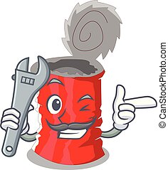 Mechanic tincan ribbed metal character a canned vector...