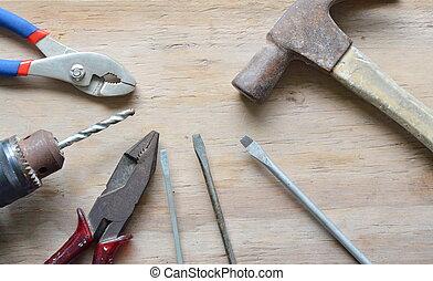 mechanic tool on wooden board
