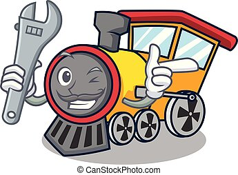 Mechanic train mascot cartoon style