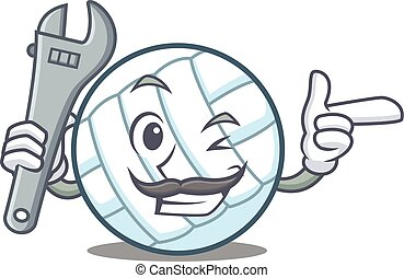 Mechanic volley ball character cartoon vector illustration