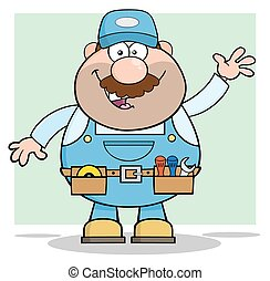 Mechanic Waving For Greeting - Smiling Mechanic Cartoon...