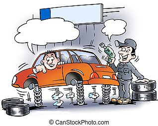 Mechanic who just testing the car - Cartoon illustration of...