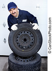 mechanic with auto wheels