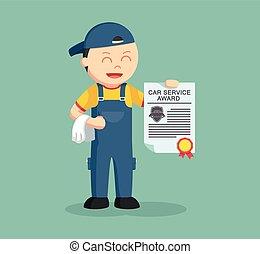 mechanic with award certificate