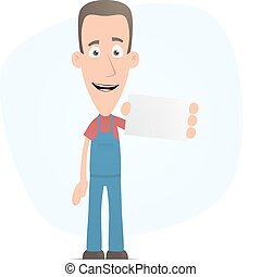 Mechanic with blank business card - Illustration of a...