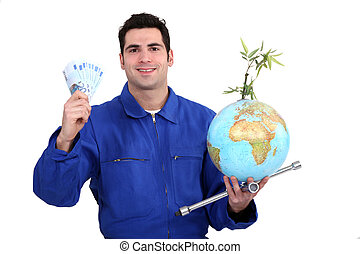 Mechanic with cash and a globe