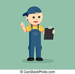 mechanic with clipboard illustration design