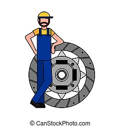 mechanic with clutch plate auto repair service