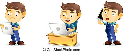 Mechanic with laptop mascot