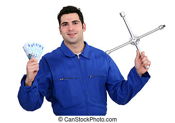 Mechanic with money in hand