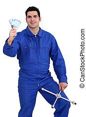 mechanic with money