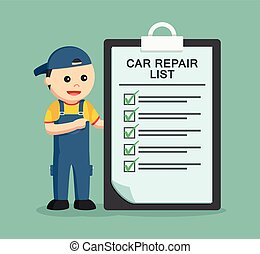 mechanic with repair list clipboard