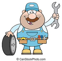 Mechanic With Tire And Huge Wrench - Smiling Mechanic ...