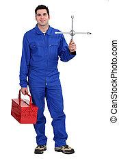 Mechanic with tool kit