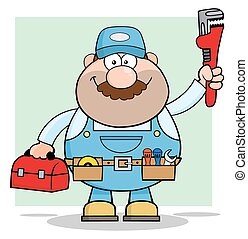 Mechanic With Wrench And Tool Box