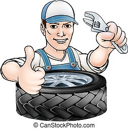 Mechanic with wrench and tyre - Cartoon mechanic man with...