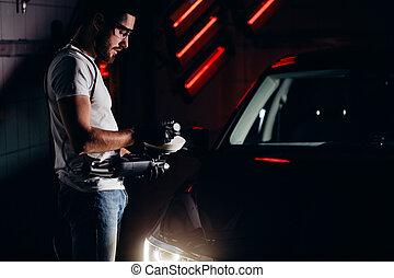 mechanic worker prepare for polishing car by power buffer machine