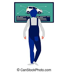 mechanic worker with car instruction poster
